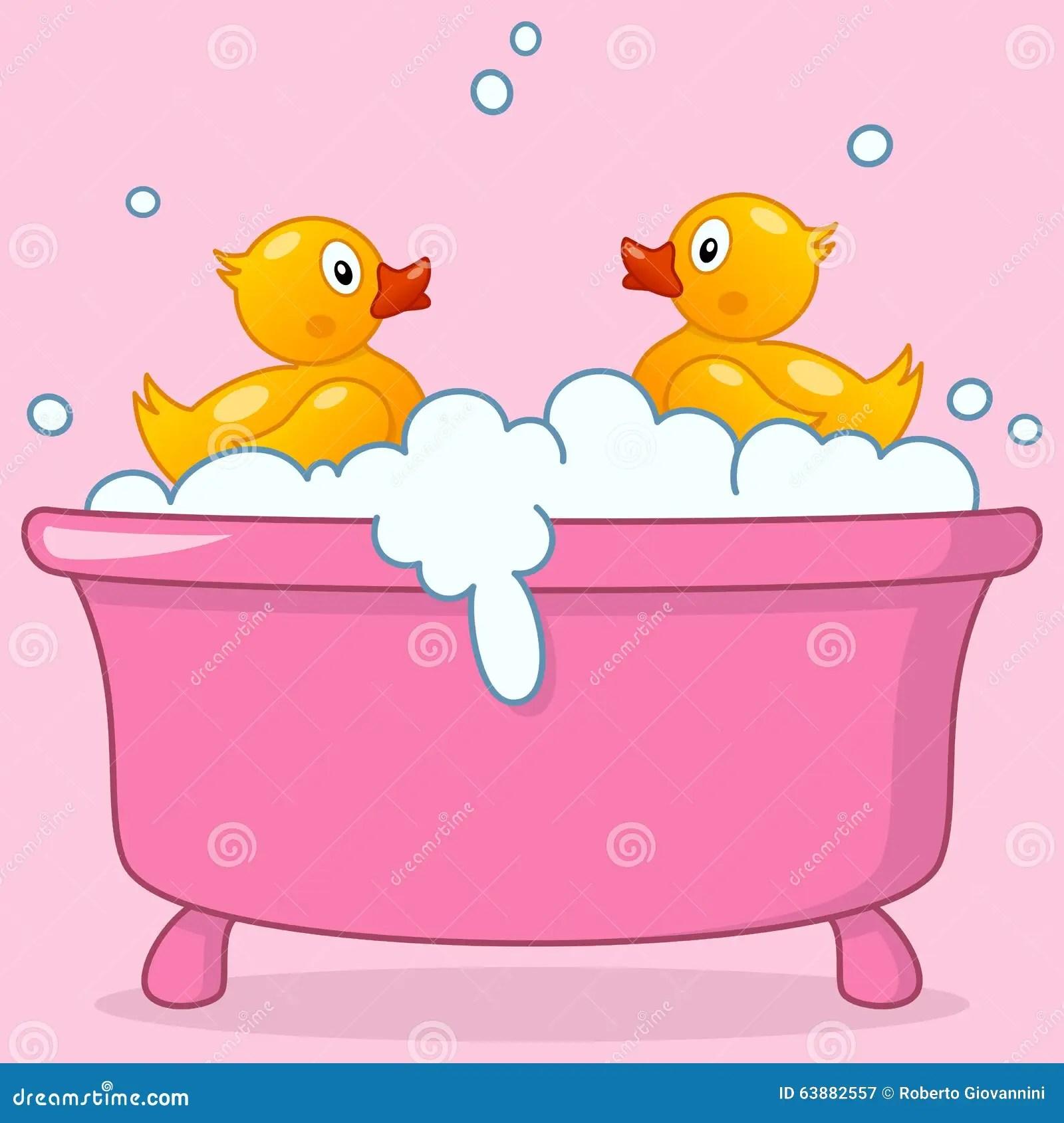 Cartoon Girl Bathtub With Rubber Ducks Stock Vector