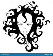 cartoon girl with curly hair stock