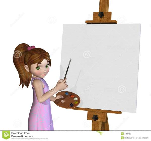 Cartoon Girl Painting Stock Illustration. Illustration Of