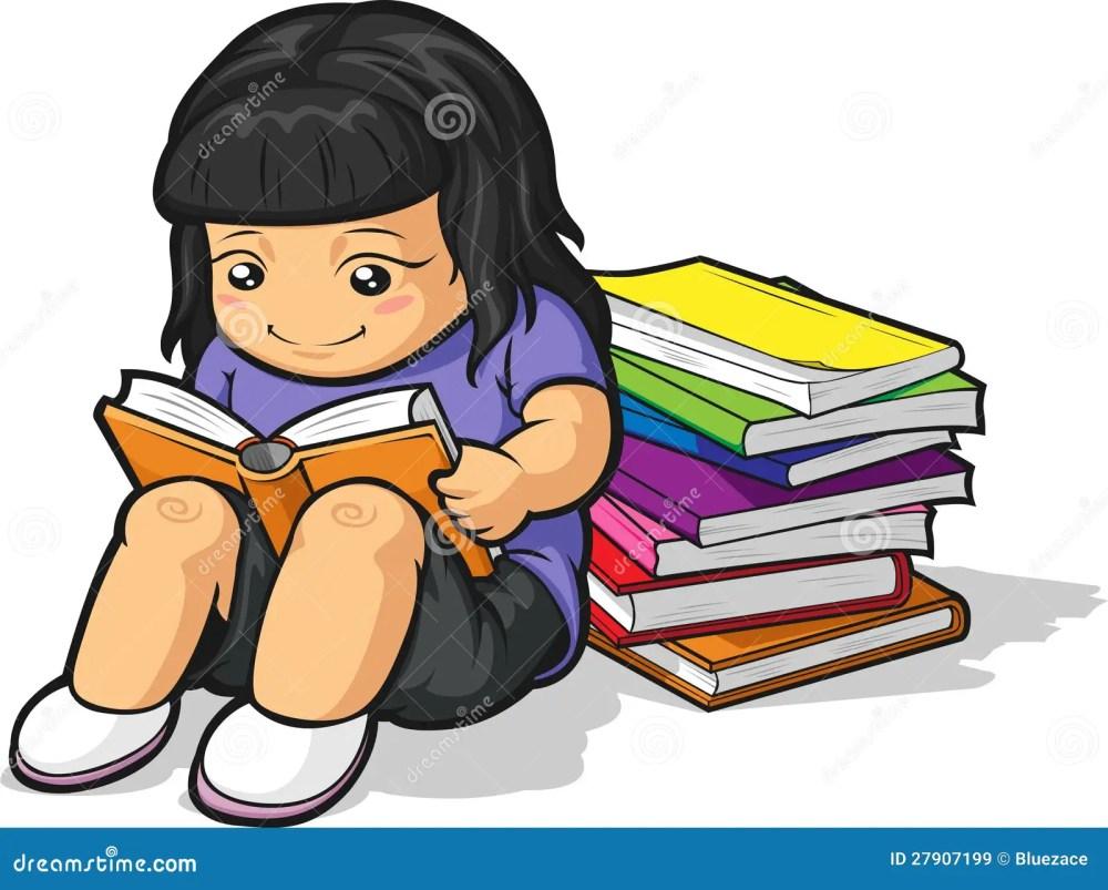 medium resolution of cartoon of girl student studying reading book