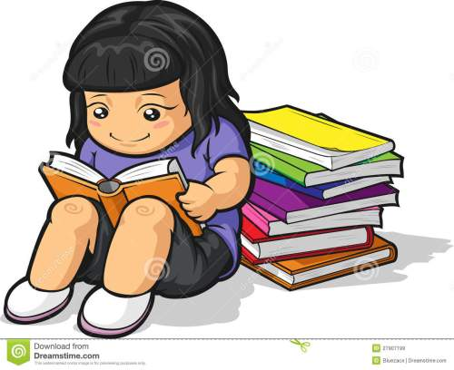 small resolution of cartoon of girl student studying reading book