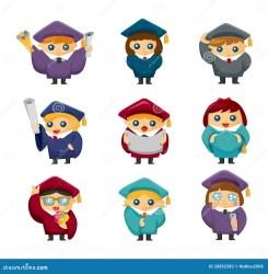 cartoon students graduate icons vector graduation illustration preview