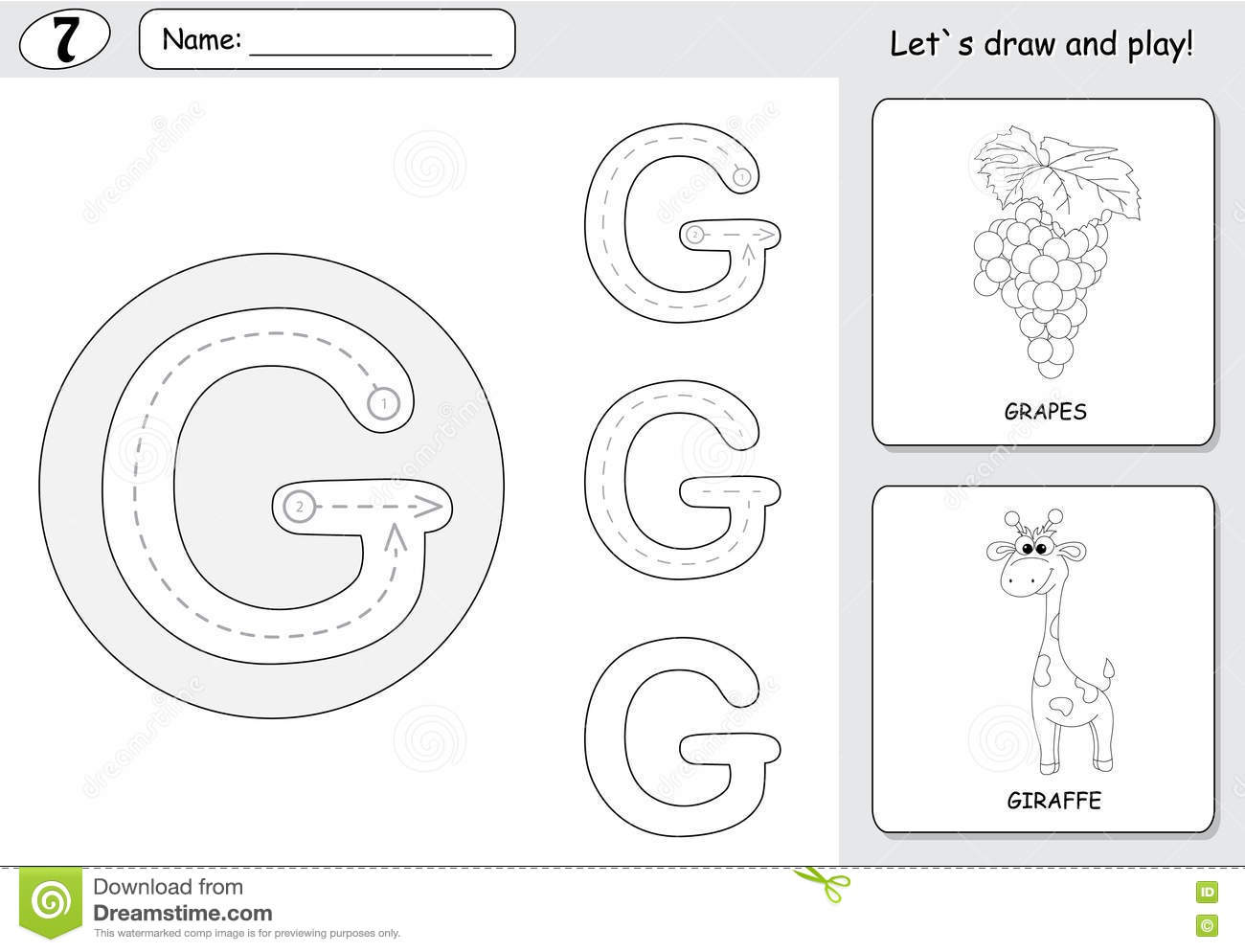 Cartoon G S And Giraffe Alphabet Tracing Worksheet