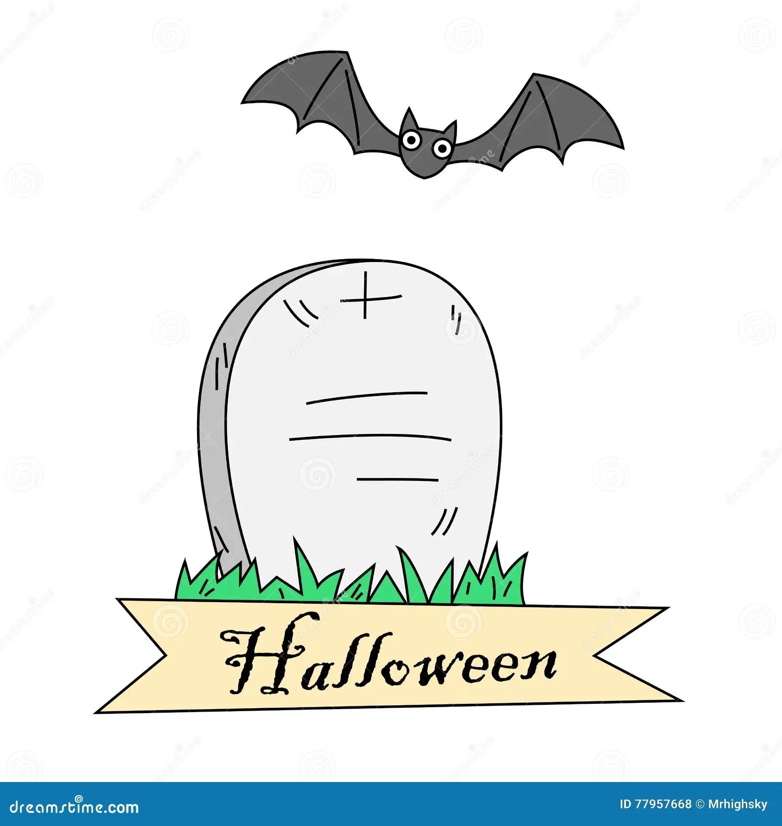 Download Cartoon Gravestone And Bat Stock Vector. Illustration Of Template  - 77957668