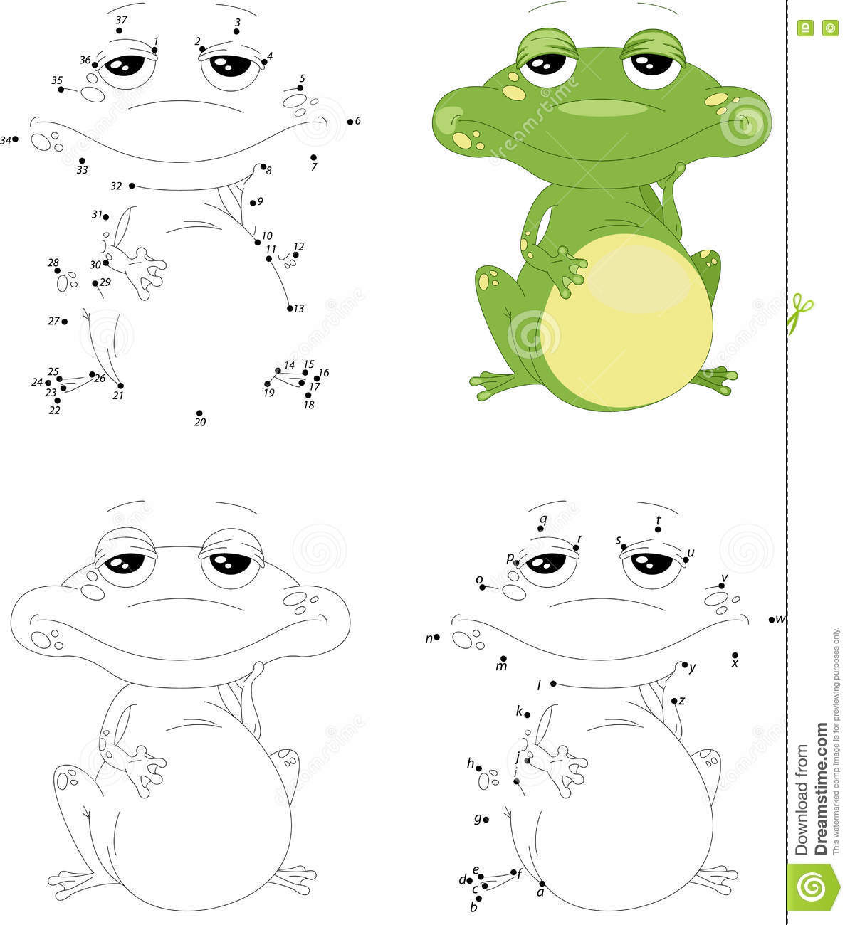 Cartoon Green Frog Coloring Book And Dot To Dot Game For