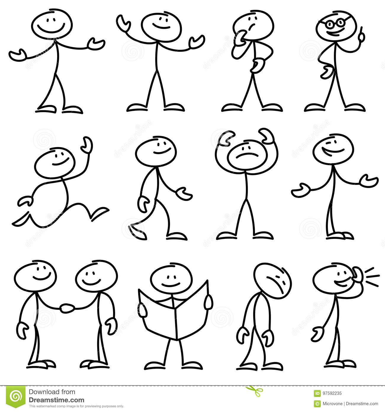 Cartoon Hand Drawn Stick Man In Different Poses Vector Set