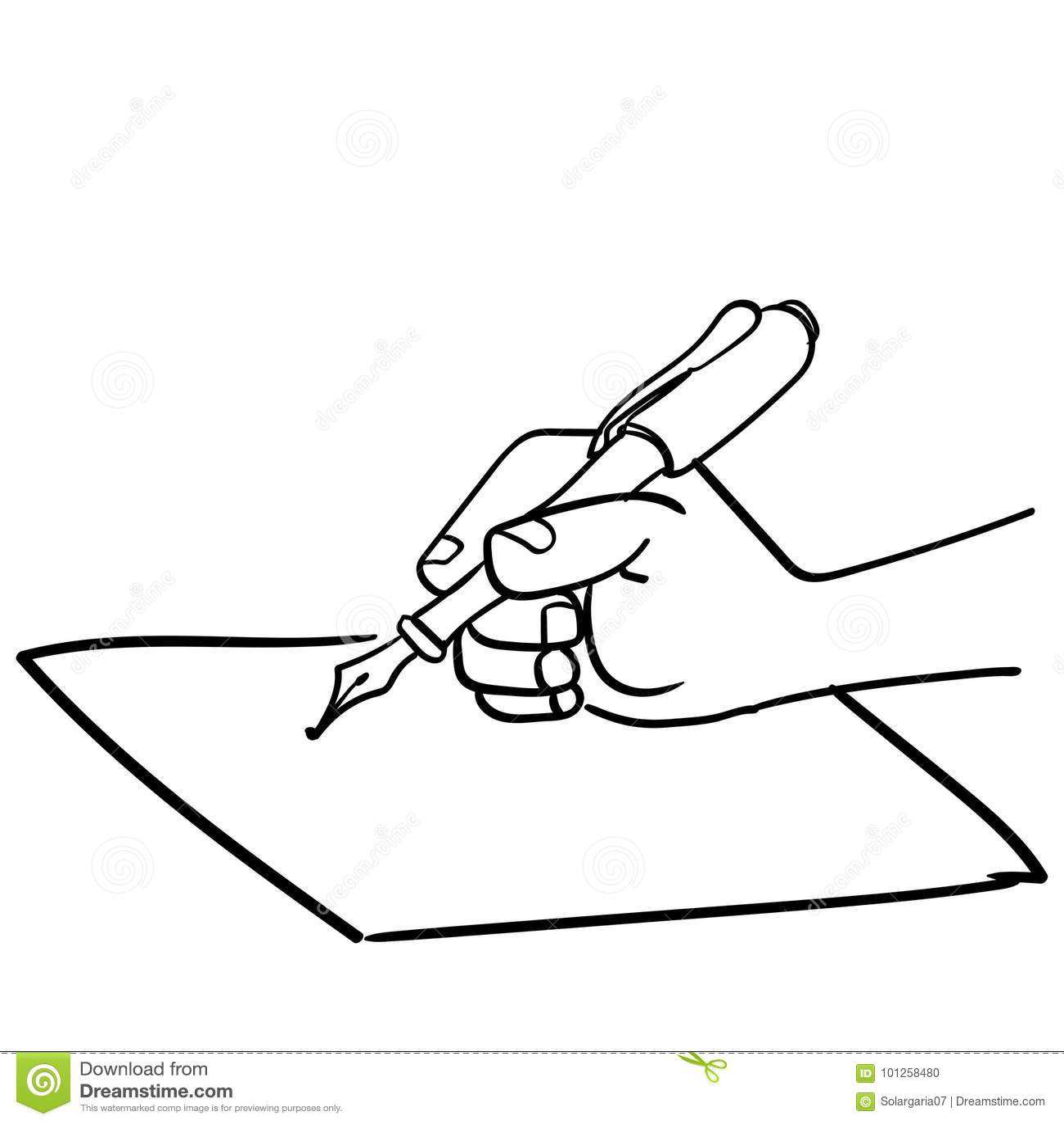 Cartoon Hand Writing With Pen-Vector Drawn Stock Vector