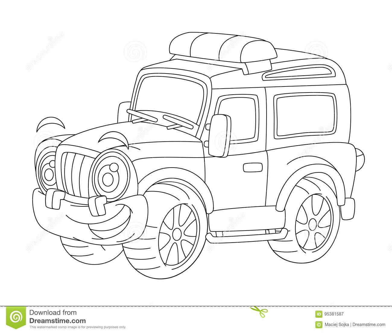 Cartoon Happy And Funny Off Road Fire Or Police Truck