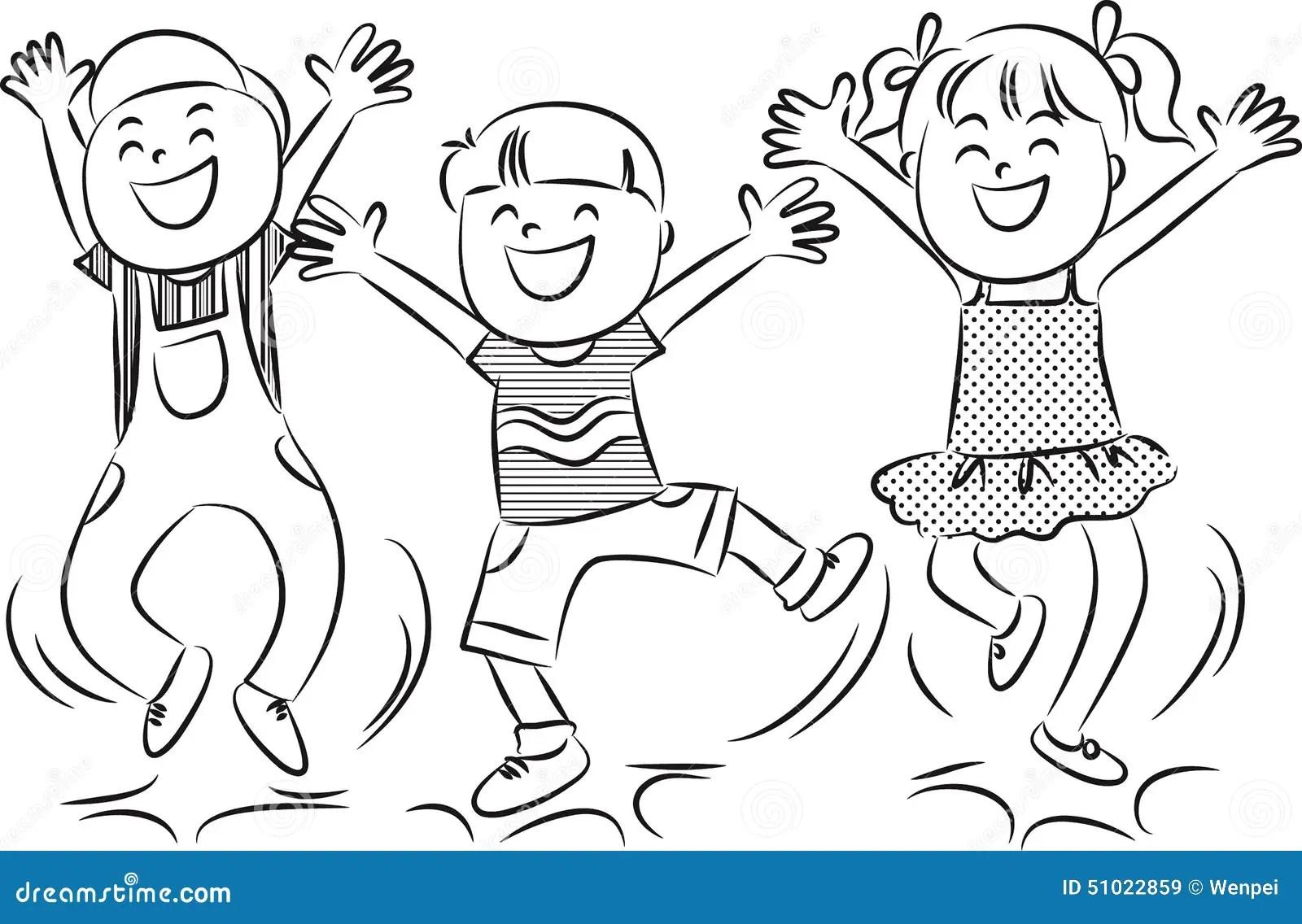 Cartoon Happy Jumping Kids