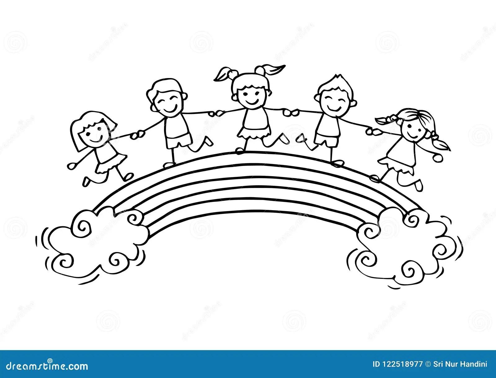 Cartoon Happy Kids On The Rainbow Stock Vector