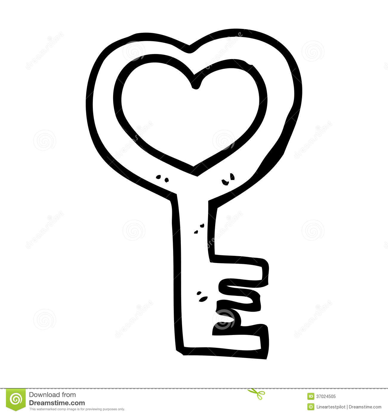 Cartoon Heart Shaped Key Stock Illustration Illustration