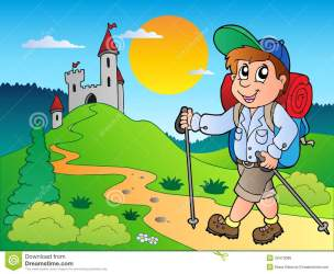 cartoon hiker near boy castle hiking clipart hike illustration clip vector royalty illustrations drawing mountain gograph theme drawings graphics eps