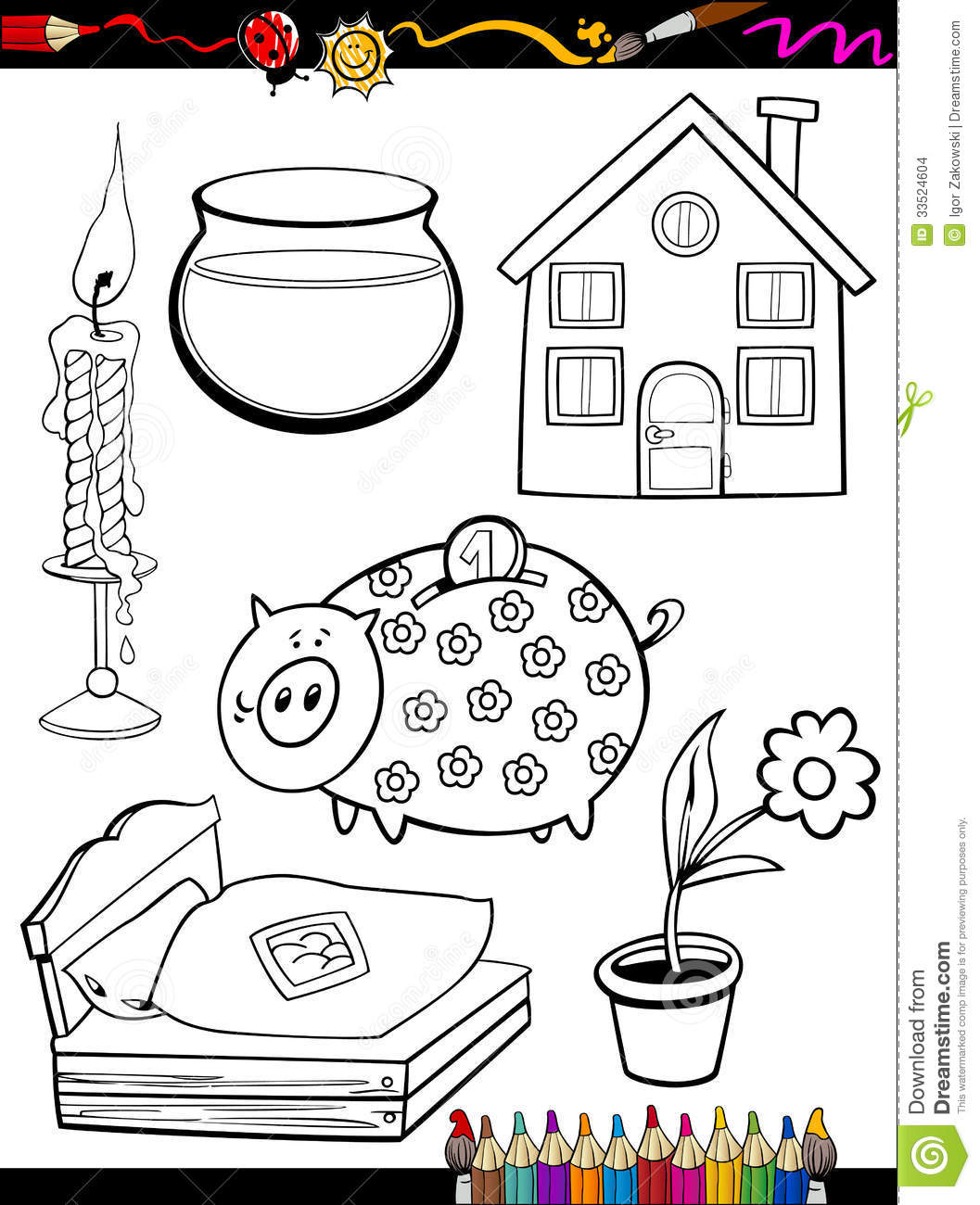 Cartoon Home Objects Coloring Page Stock Images