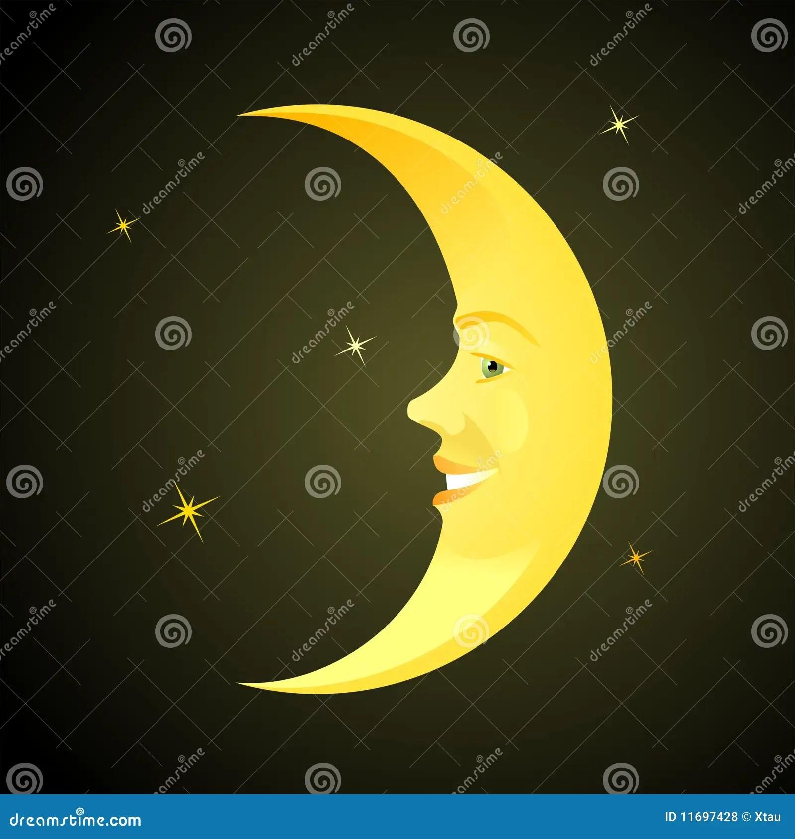 Cartoon Horned Moon Royalty Free Stock Photos Image