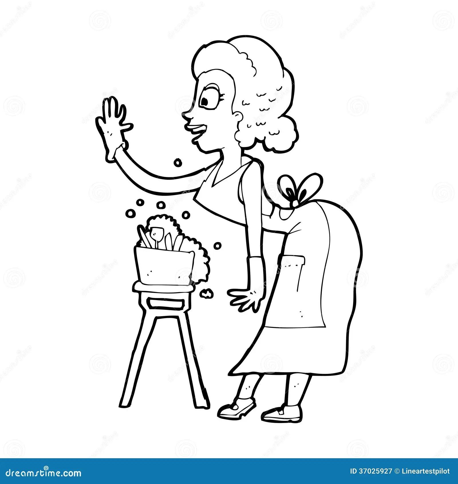 Cartoon Housewife Washing Up Royalty Free Stock