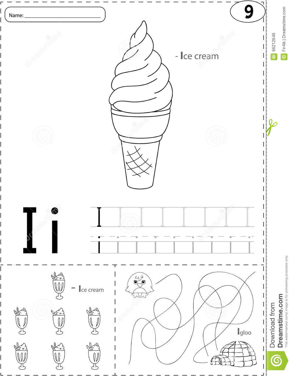 Cartoon Ice Cream And Igloo. Alphabet Tracing Worksheet