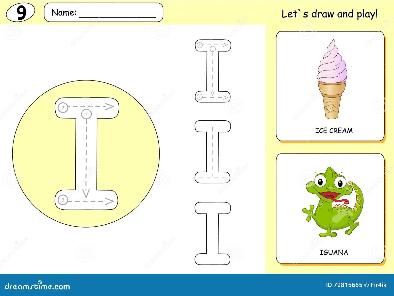 Cartoon Ice Cream And Iguana Alphabet Tracing Worksheet Stock Vector