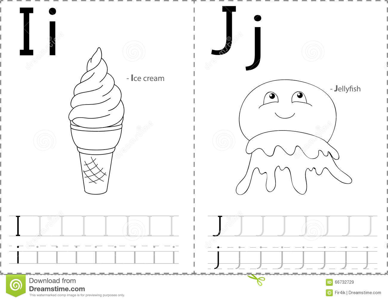 Cartoon Ice Cream And Jellyfish. Alphabet Tracing