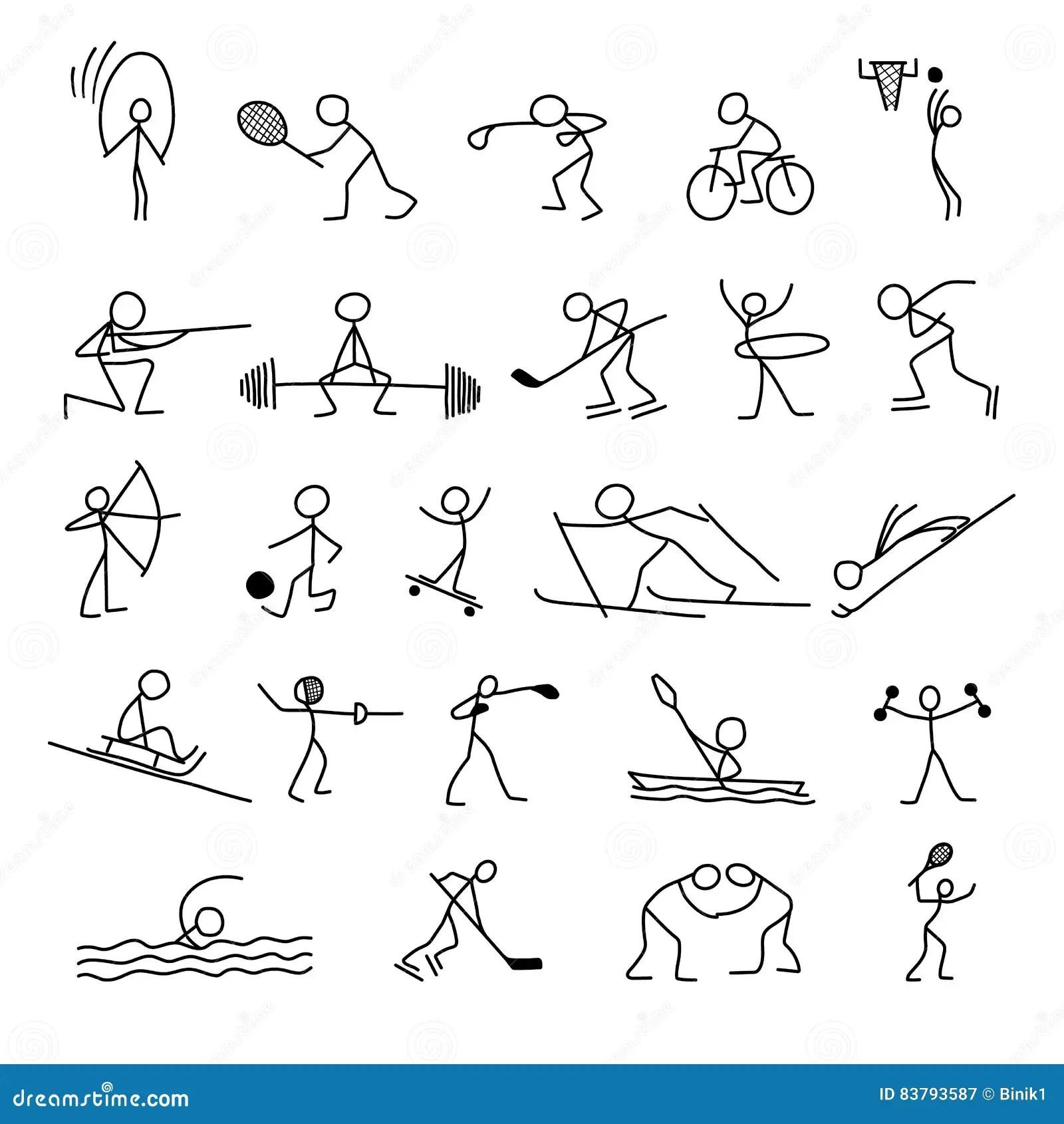 Cartoon Icons Sport Set Of Stick Figures Sketch Little