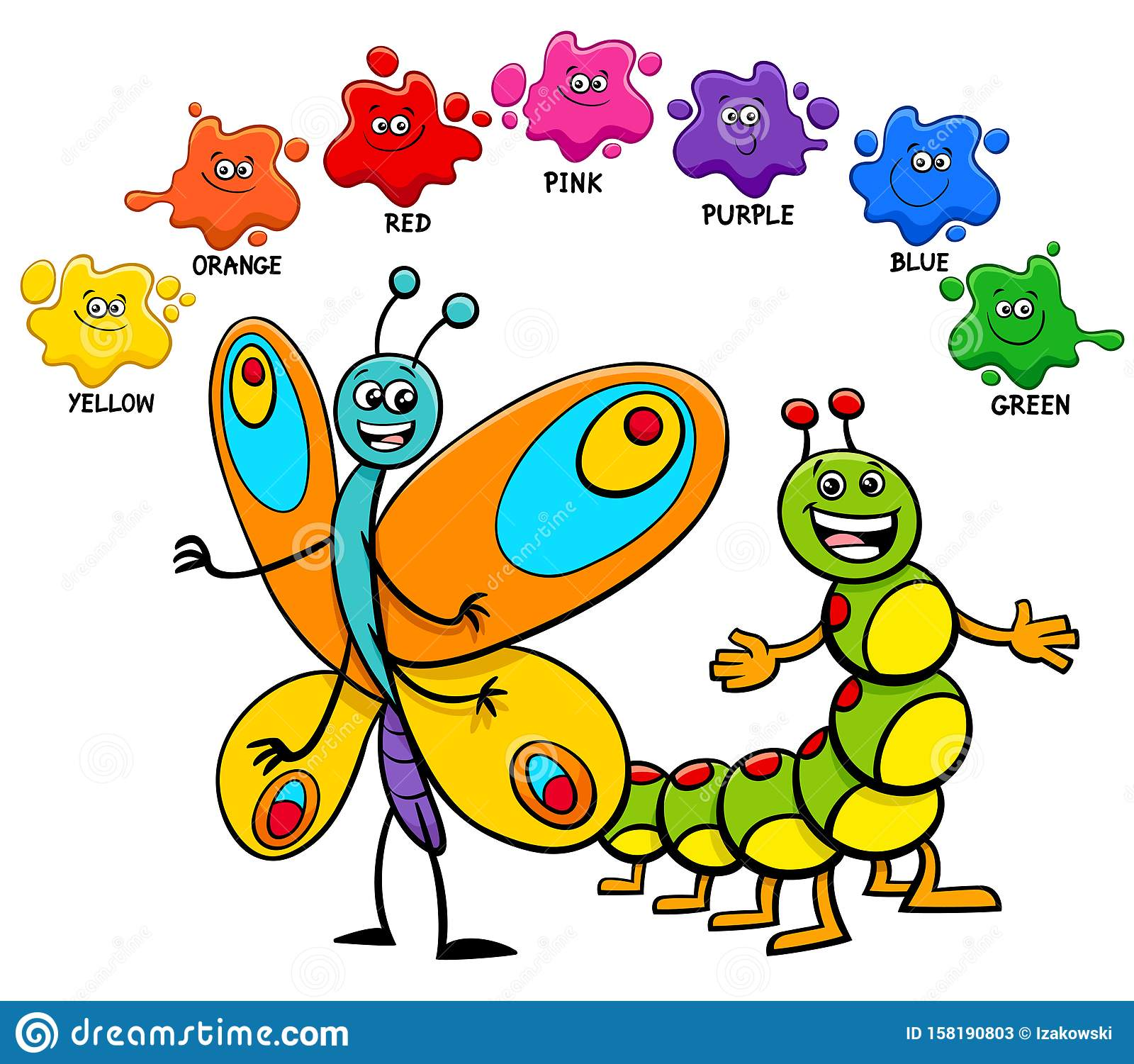 Basic Colors With Butterfly And Caterpillar Stock Vector