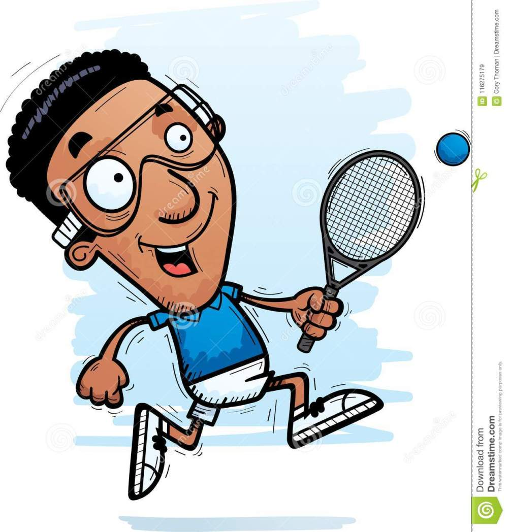 medium resolution of cartoon black racquetball player running