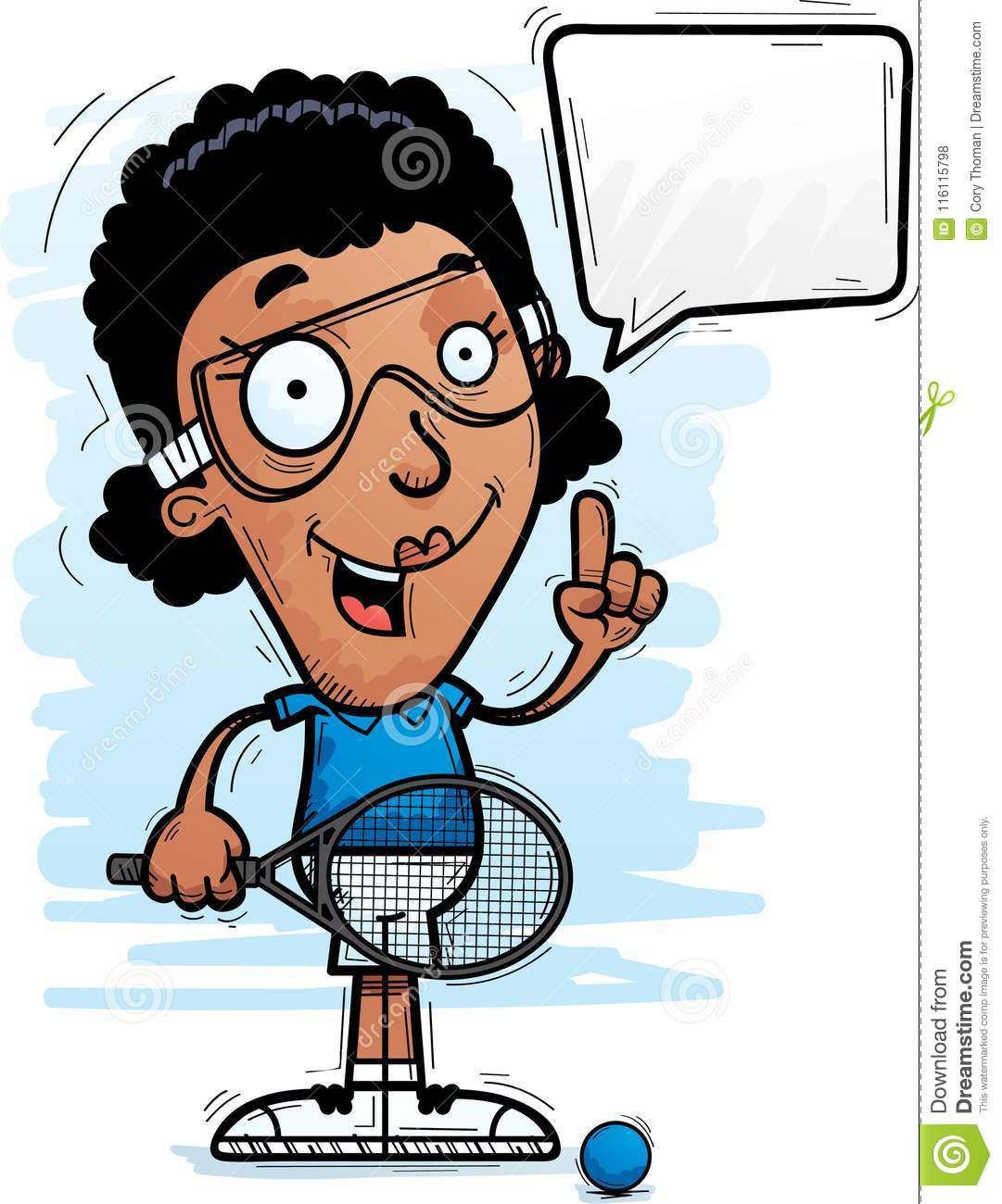hight resolution of cartoon black racquetball player talking