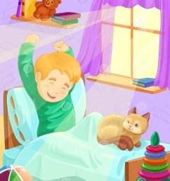 cartoon illustration boy wake up in the morning stock illustration [ 1183 x 1300 Pixel ]