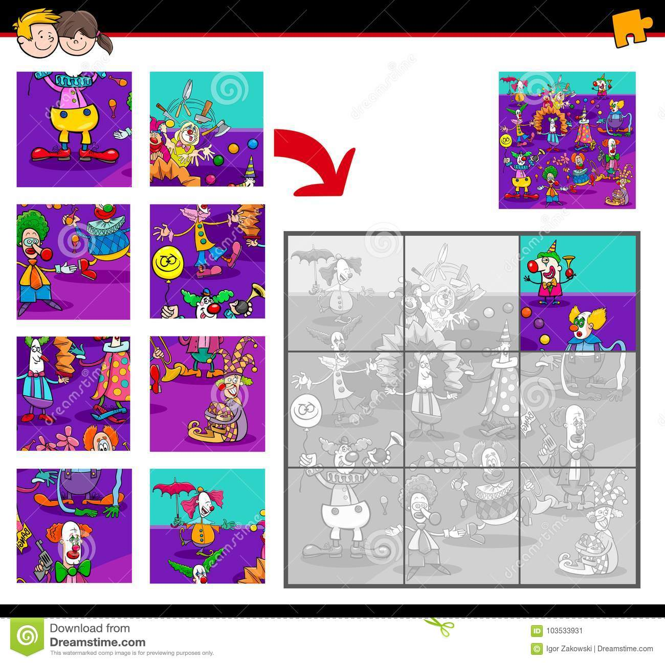 Jigsaw Puzzles With Clown Characters Stock Vector