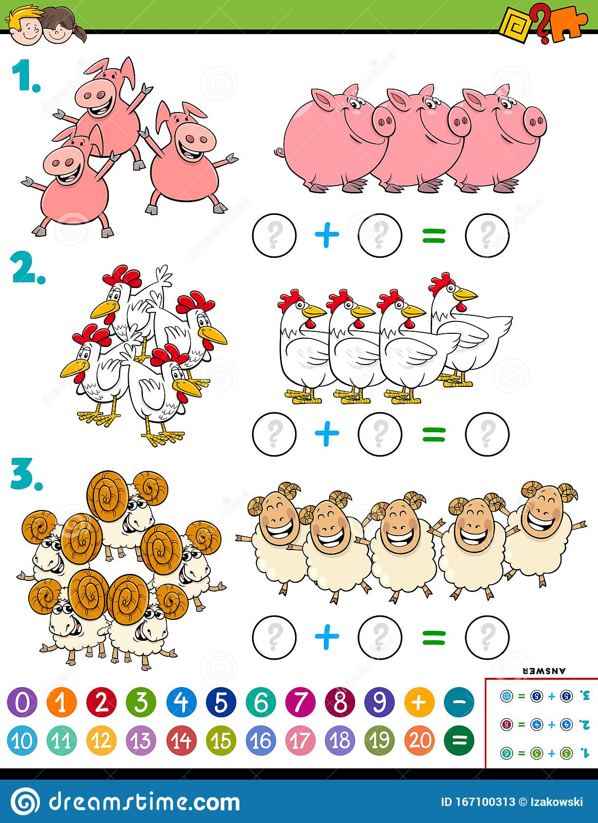Maths Addition Educational Task With Farm Animals Stock