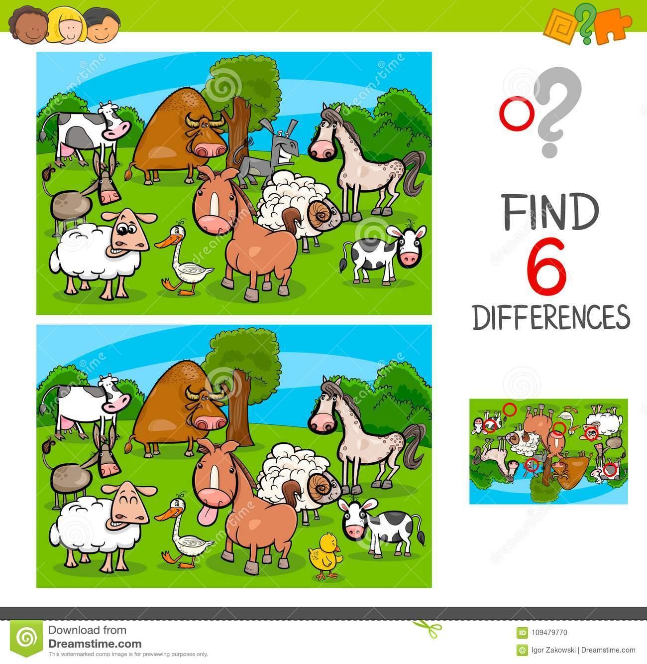 Game Template With Farm Animal Characters Cartoon Vector