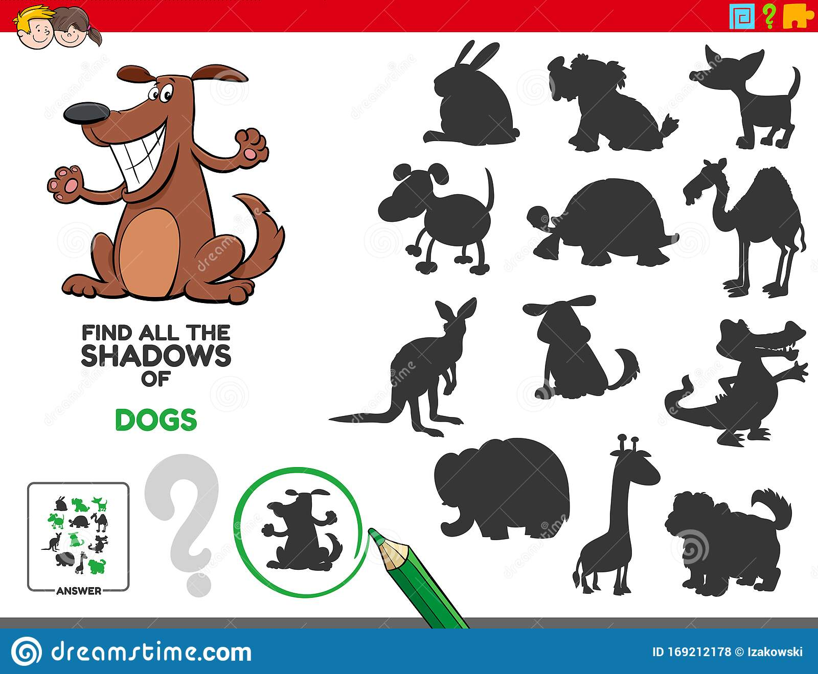 Educational Shadows Task With Dogs Stock Vector