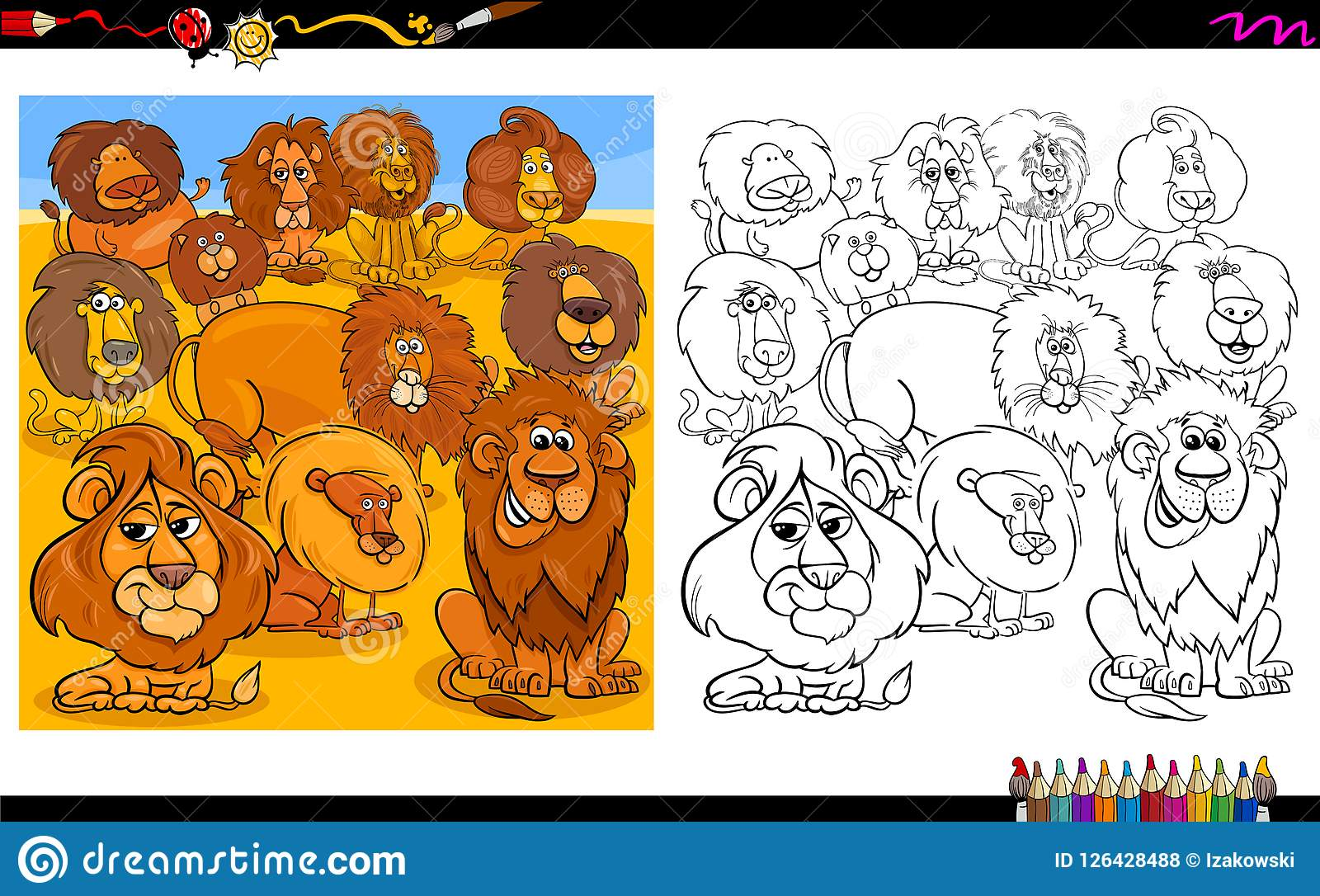 Lions Animal Characters Group Coloring Book Stock Vector