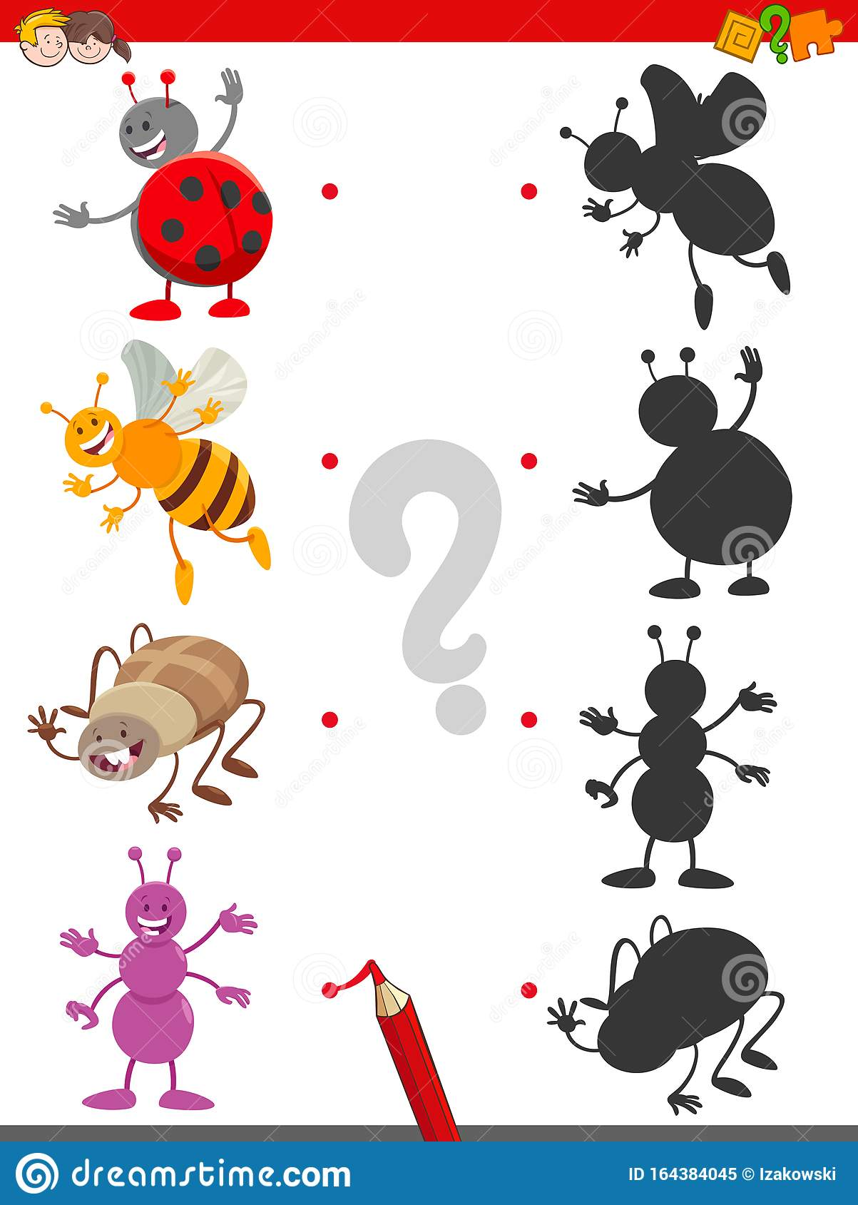 Shadow Game With Cute Insects Characters Stock Vector