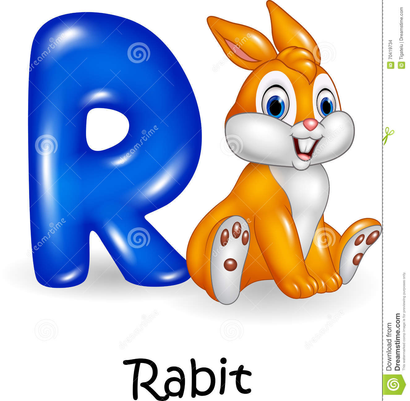 Cartoon Illustration Of R Letter For Rabbit Cartoon Stock