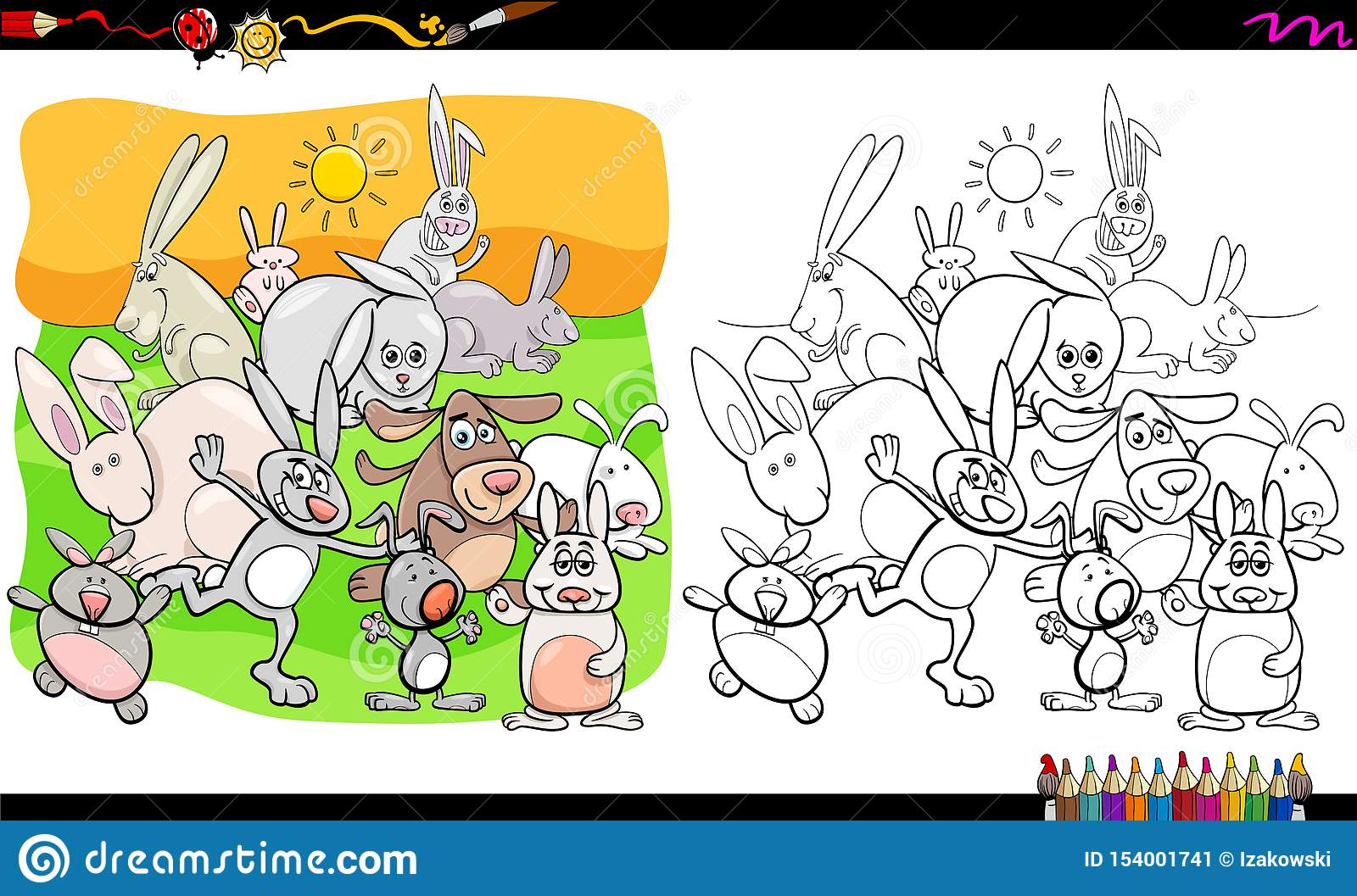 Funny Rabbits Animal Characters Coloring Book Stock Vector