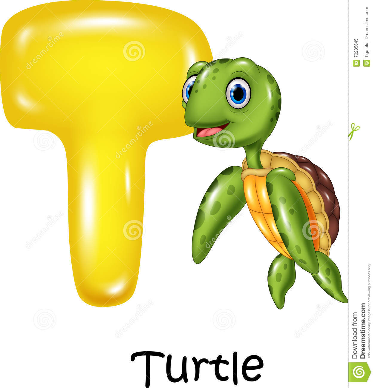 Cartoon Illustration Of T Letter For Turtle Stock Vector