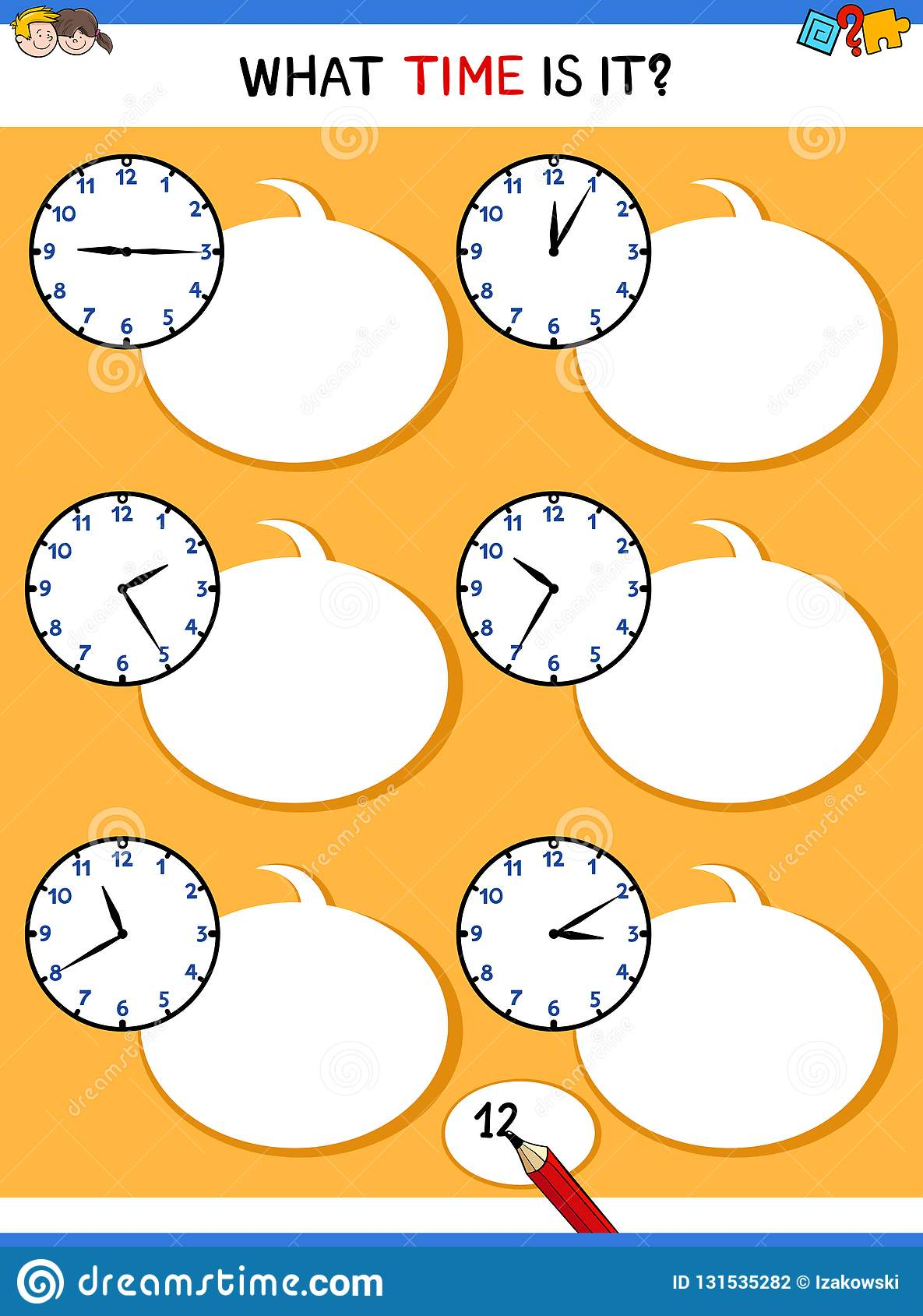 Telling Time With Clock Educational Activity Stock Vector