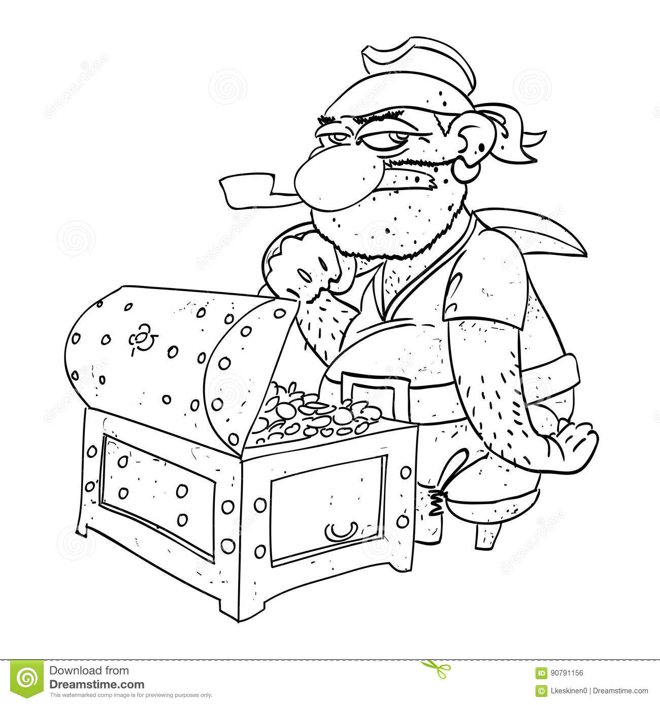 Cartoon Image Of Pirate Captain With Treasure Chest Stock