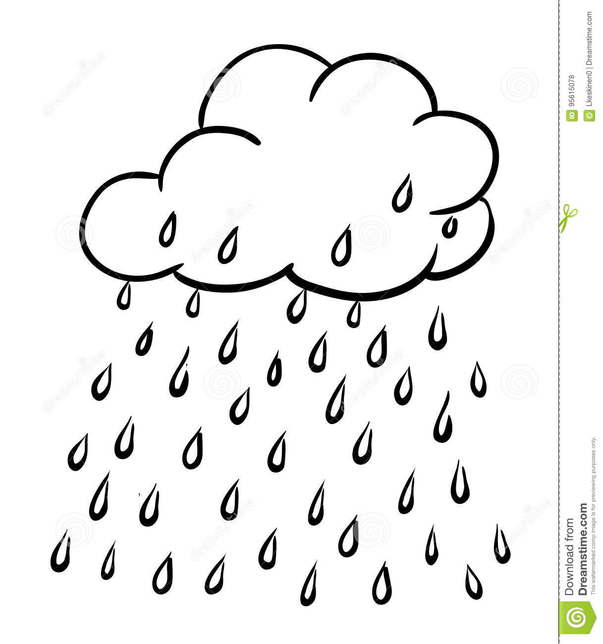 Cartoon Image Of Rain Icon Cloud Rain Symbol Modern