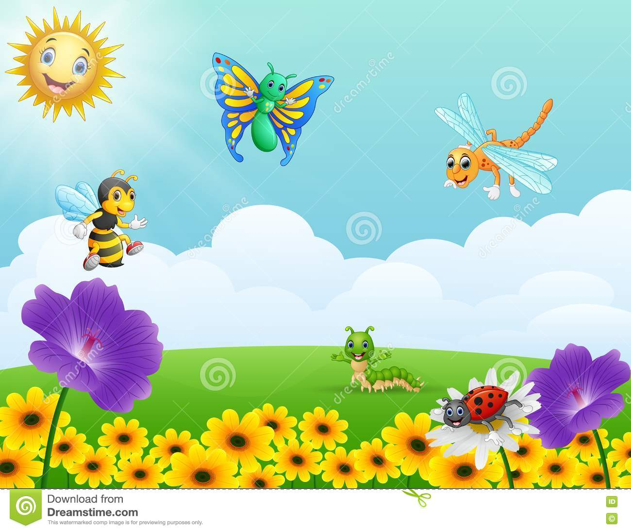 Cartoon Insects In The Garden Stock Vector