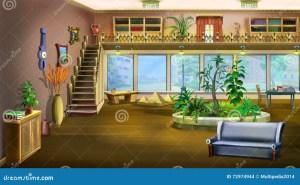 cartoon background living interior painting illustration digital