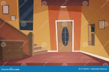 cartoon interior hallway retro fumetto interiore vector notte