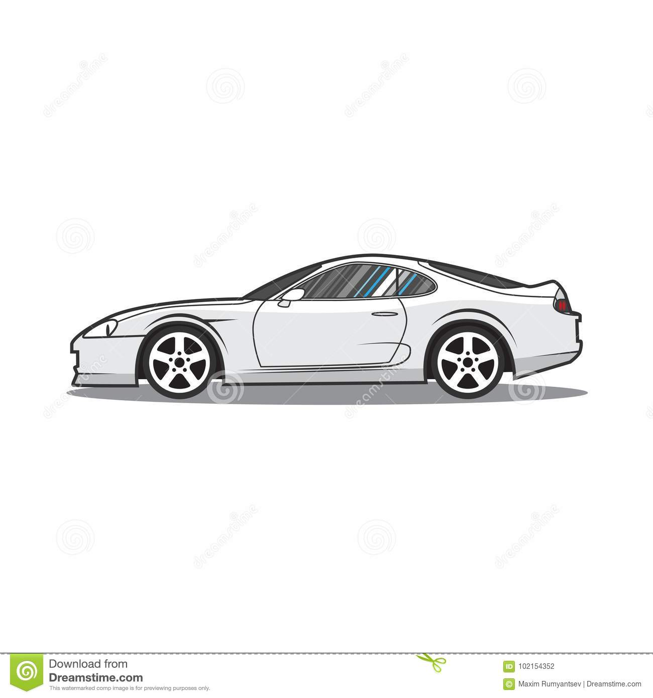 Vector Cartoon Japan Sport Car Side View Stock Vector