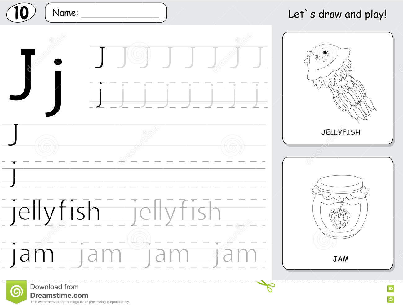 Cartoon Jellyfish And Jam Alphabet Tracing Worksheet Writing A Stock Vector