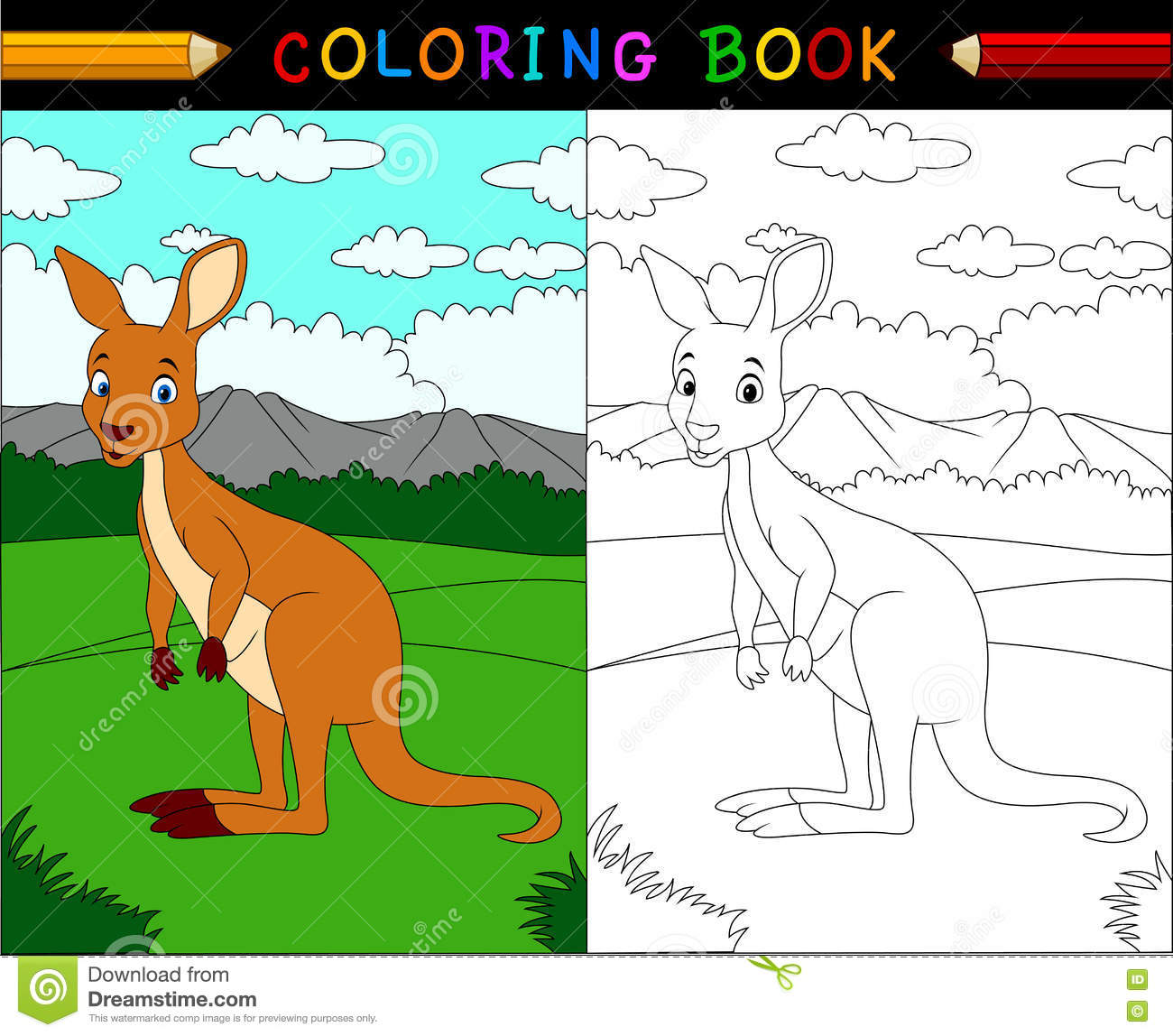Cartoon Kangaroo Coloring Book Stock Vector