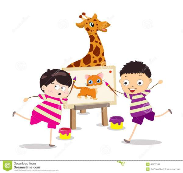 Cartoon Kids With Painting Stock Vector - 42417763