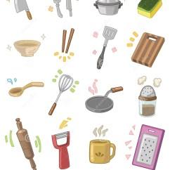 Cute Kitchen Gadgets Cabinet Sizes Cartoon Utensils Stock Vector Image Of