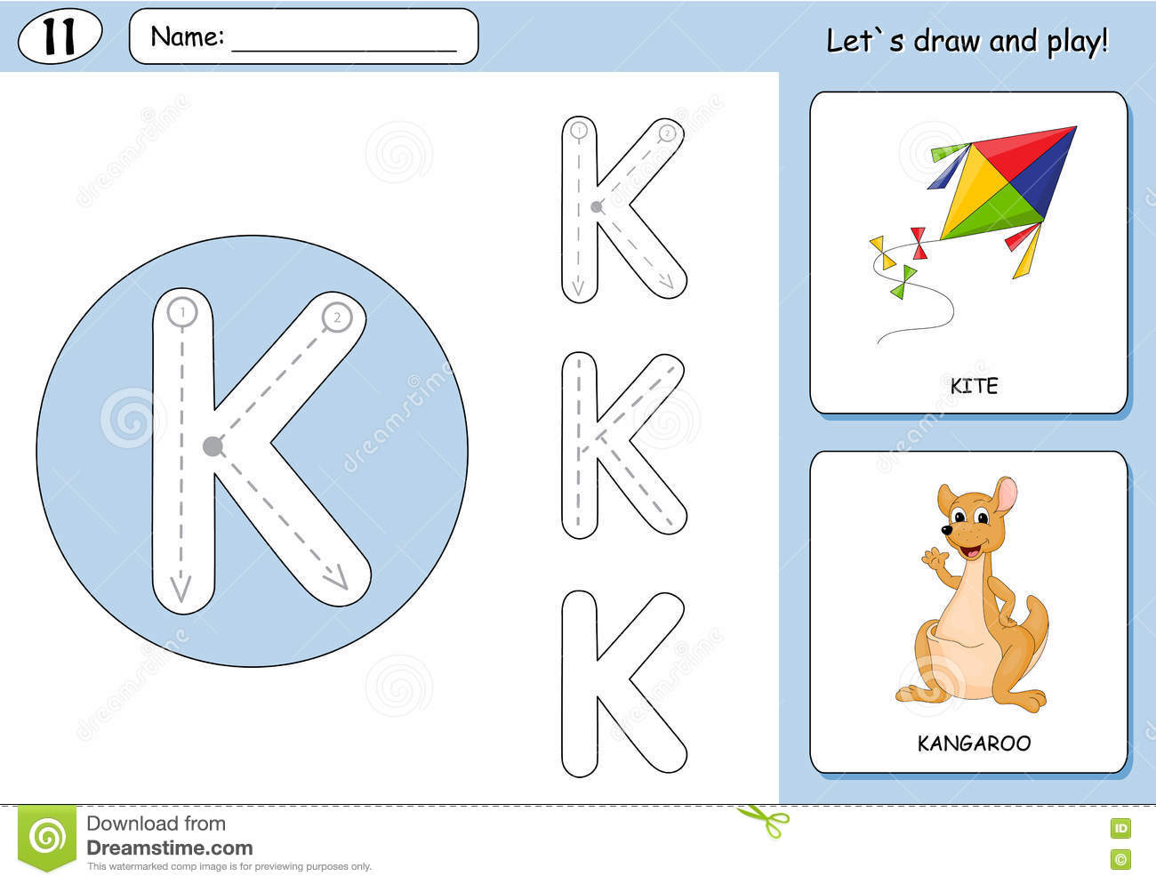 Cartoon Kite And Kangaroo Alphabet Tracing Worksheet