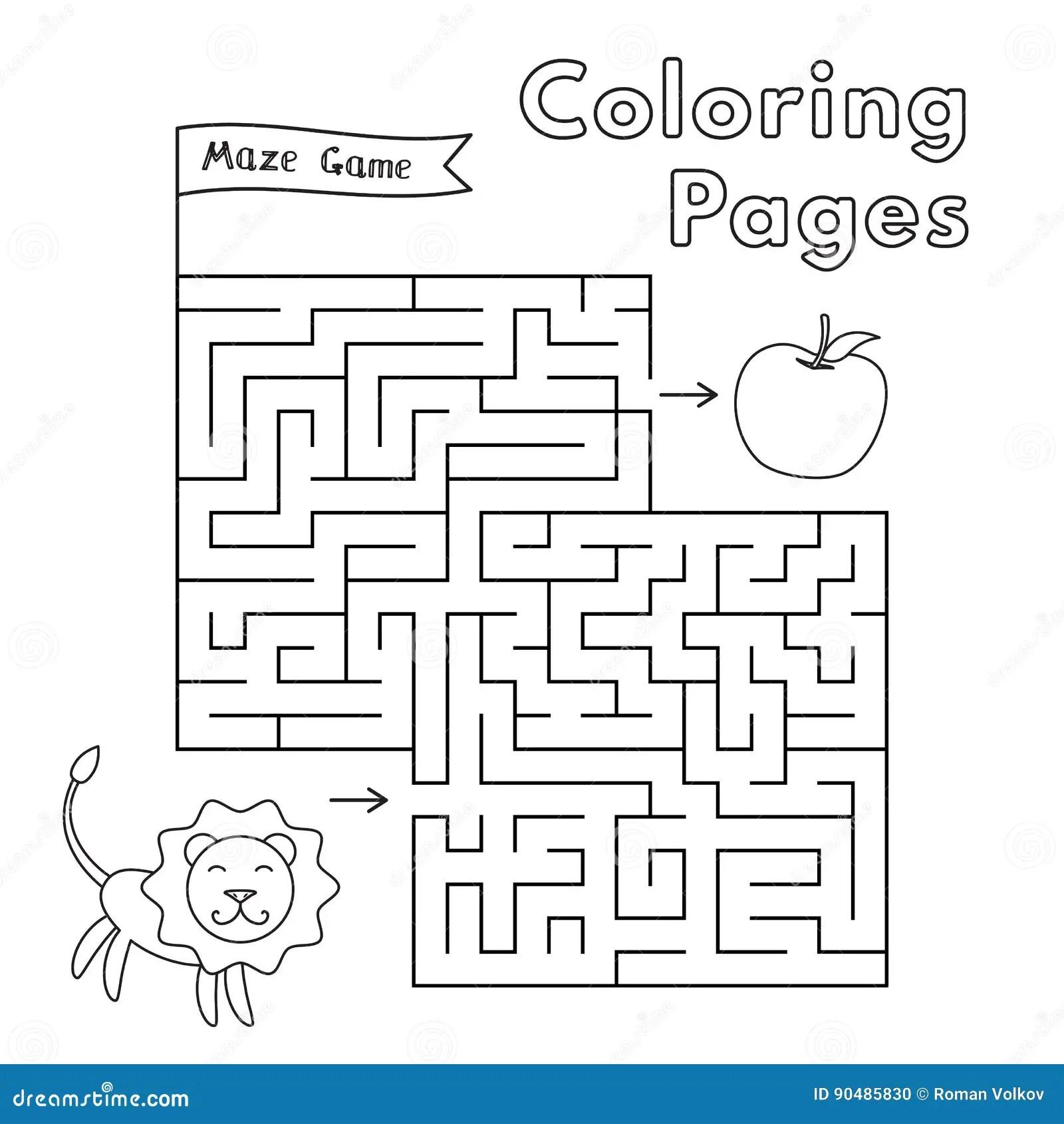 Cartoon Lion Maze Game Stock Vector
