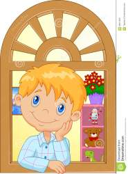 window cartoon boy smiling watching illustration preview